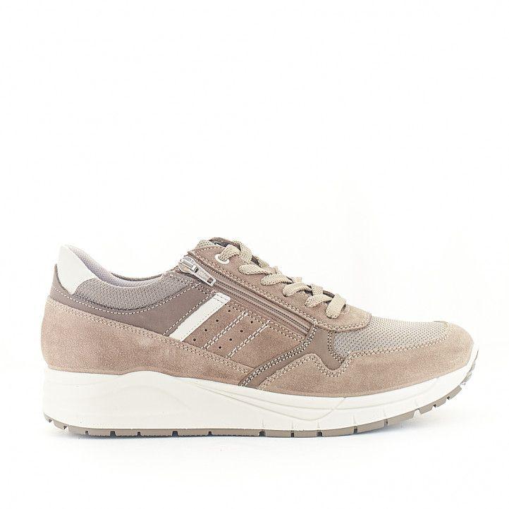 Zapatos sport Imac beige con cremallera lateral - Querol online