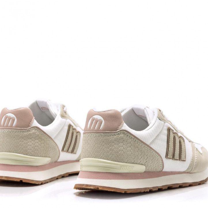 Zapatillas deportivas Mustang en tonos beige y detalles en blanco y rosas - Querol online