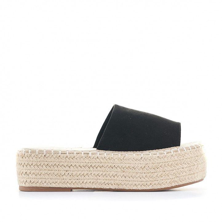 Sandalias plataformas Owel negras con pala y plataforma - Querol online