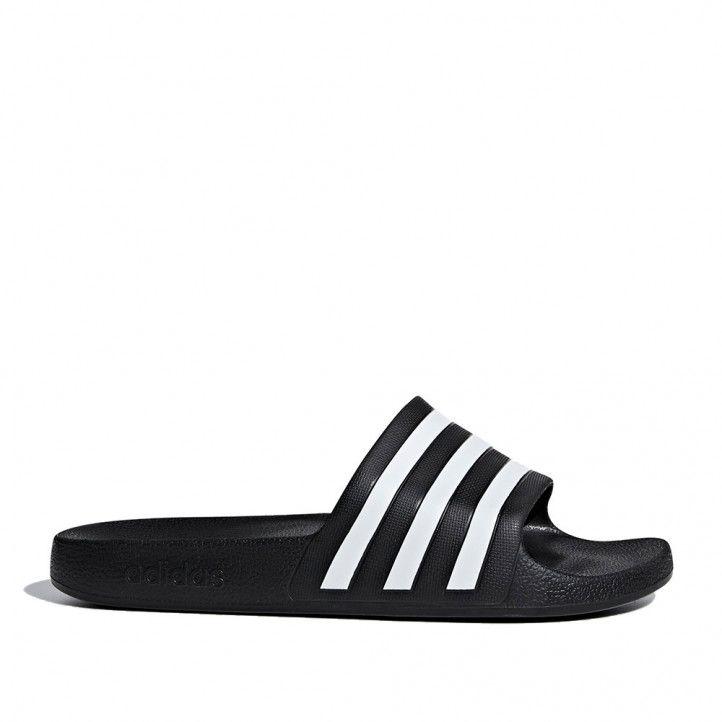 Chanclas Adidas negras y blancas tres rayas - Querol online