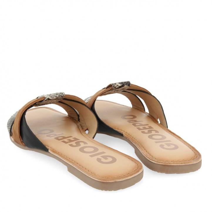 Sandalias planas Gioseppo de piel marrones con tiras de varios colores - Querol online