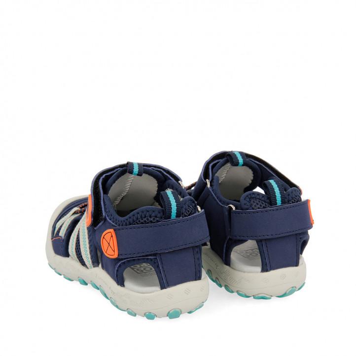 sandàlies Gioseppo blau marí amb detalls taronges per a nen deinze - Querol online
