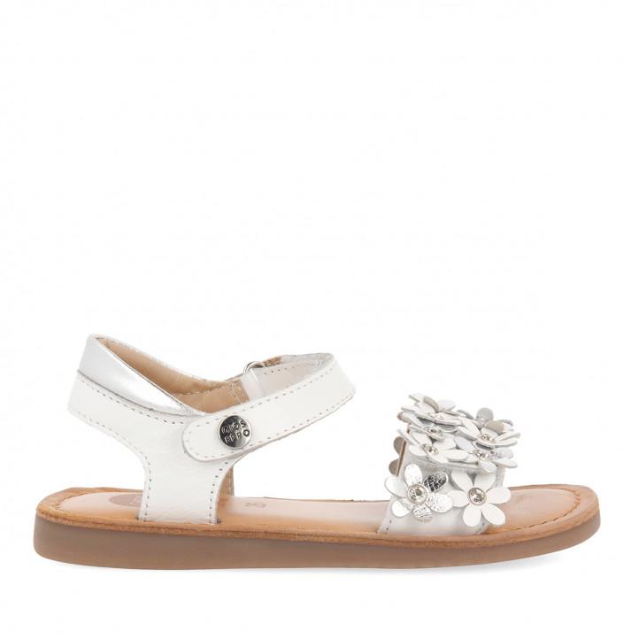 sandalias Gioseppo blancas con flores para niña mazara - Querol online
