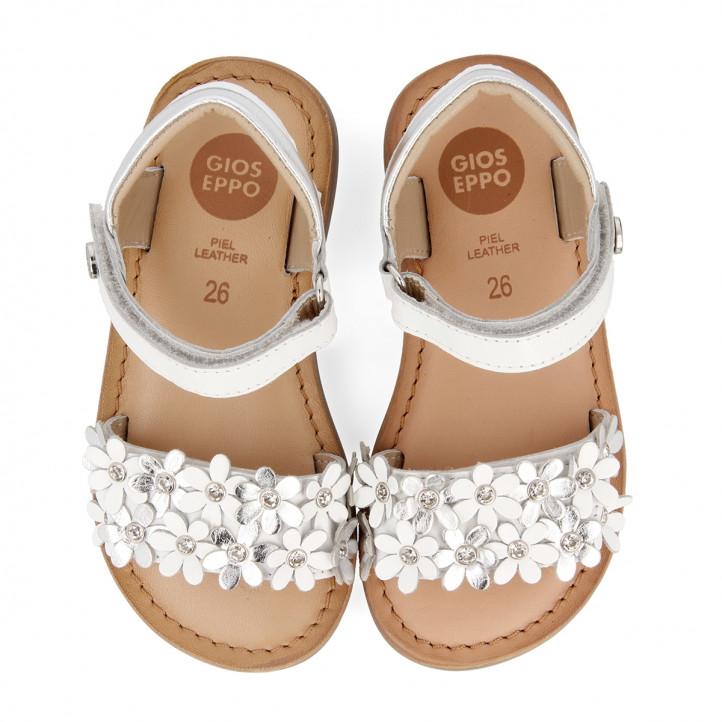 sandàlies Gioseppo blanques amb flors per a nena mazara - Querol online