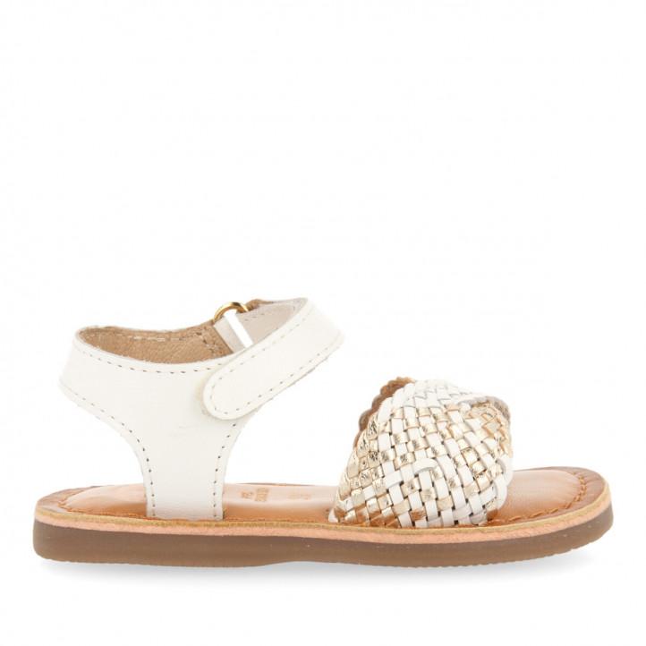 sandàlies Gioseppo blanques de pell per a nena amb pala trenada devanlay - Querol online