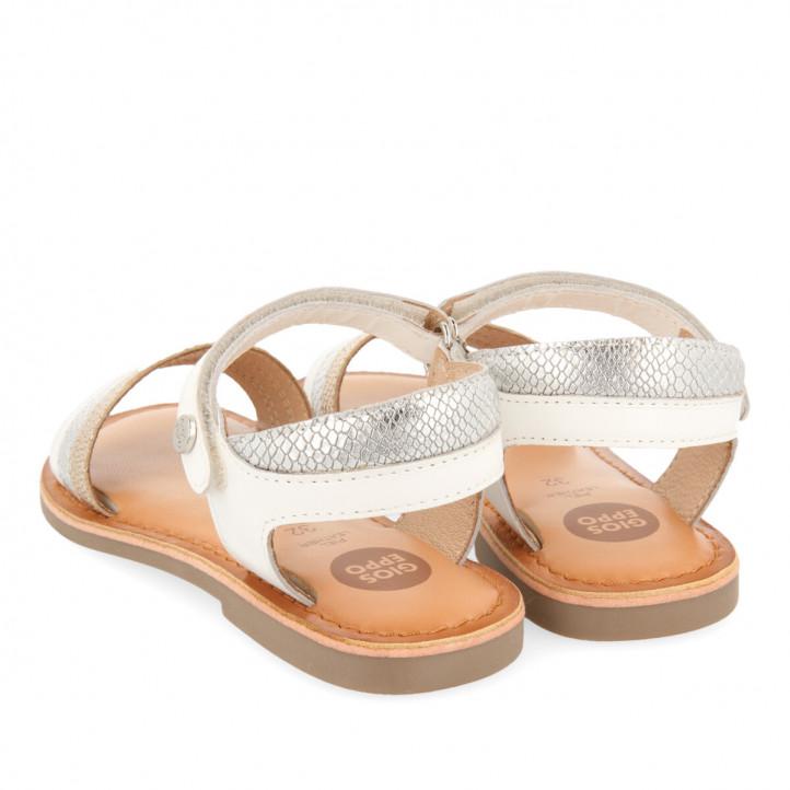 sandalias Gioseppo blancas de piel grabada para niña soulor - Querol online
