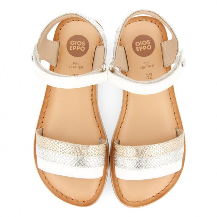 sandàlies Gioseppo blanques de pell gravada per a nena soulor - Querol online