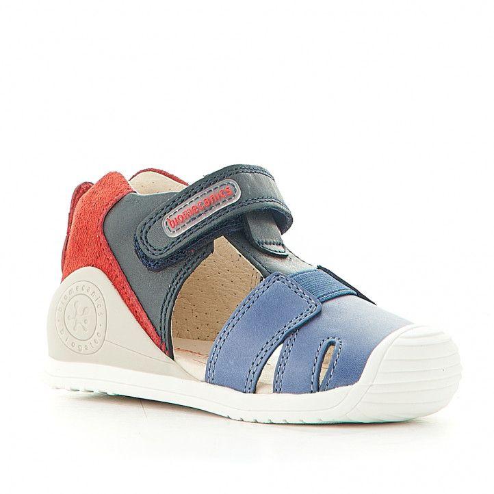 Sandàlies abotinades Biomecanics amb combinació de blau i vermell - Querol online