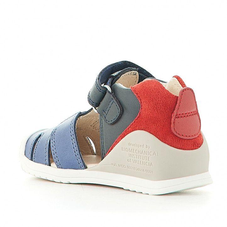 Sandalias abotinadas Biomecanics con combinación de azules y rojo - Querol online