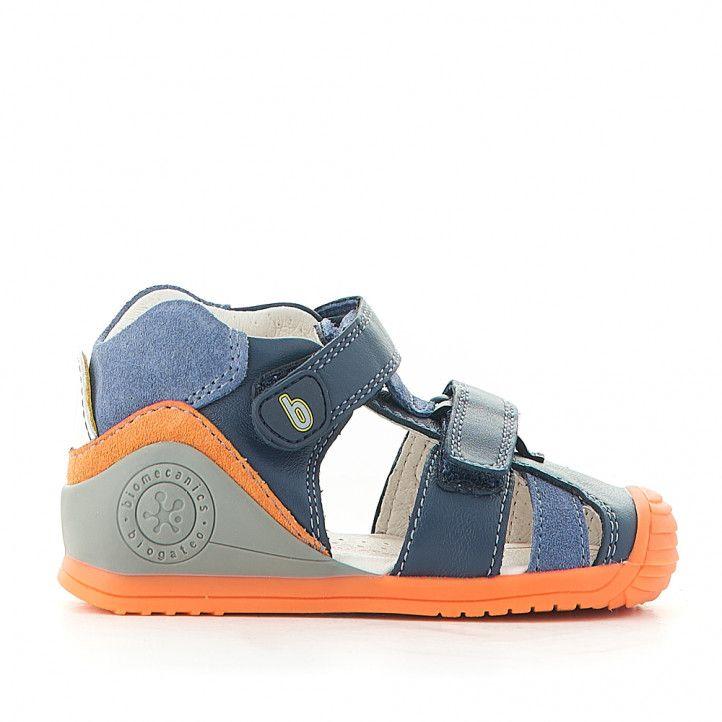 Sandalias abotinadas Biomecanics azules con detalles en naranja - Querol online