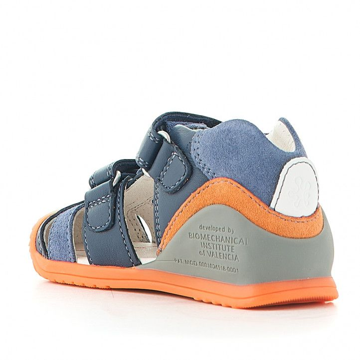 Sandàlies abotinades Biomecanics blaus amb detalls en taronja - Querol online