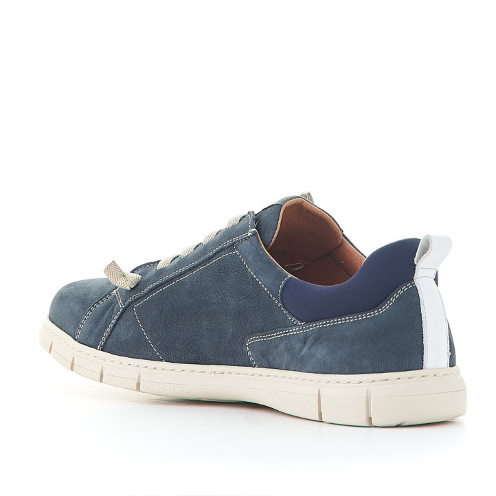 Zapatos sport Baerchi azules con interior marrón - Querol online