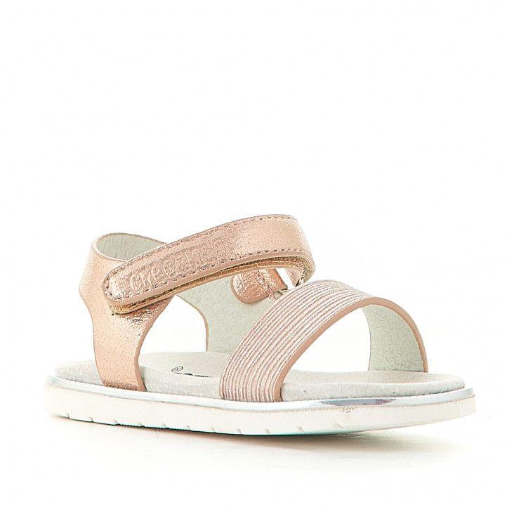sandalias CRECENDO rosa metalizadas cogidas al tobillo - Querol online