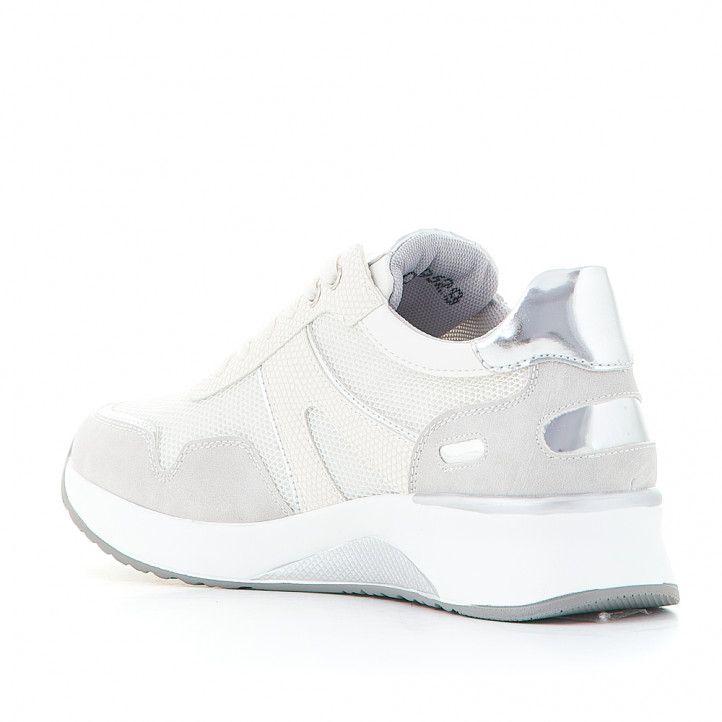 Zapatillas deportivas D'Angela blancas con tonos plateados - Querol online