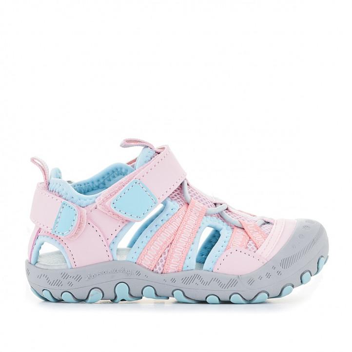 sandalias Gioseppo rosas con partes en azul celeste - Querol online