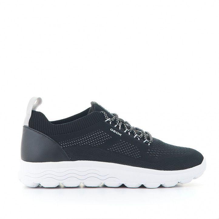 Zapatos sport Geox negros combinando textil y piel - Querol online