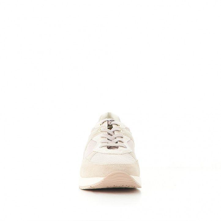 Sabatilles esportives Geox color crema amb detalls daurats - Querol online