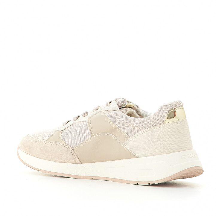 Zapatillas deportivas Geox color crema con detalles dorados - Querol online
