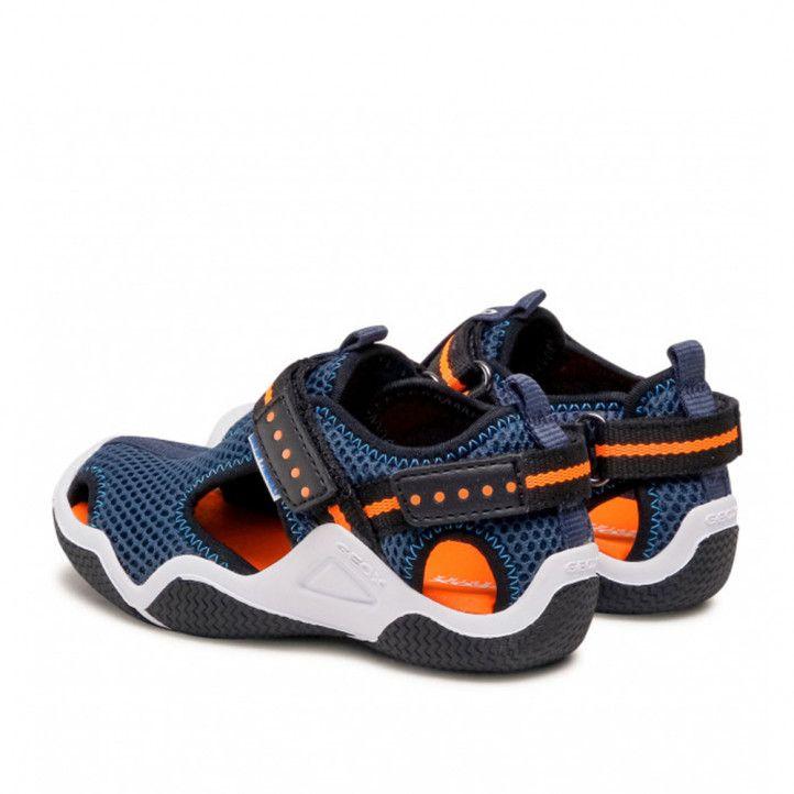 chanclas Geox azules con interior naranja - Querol online