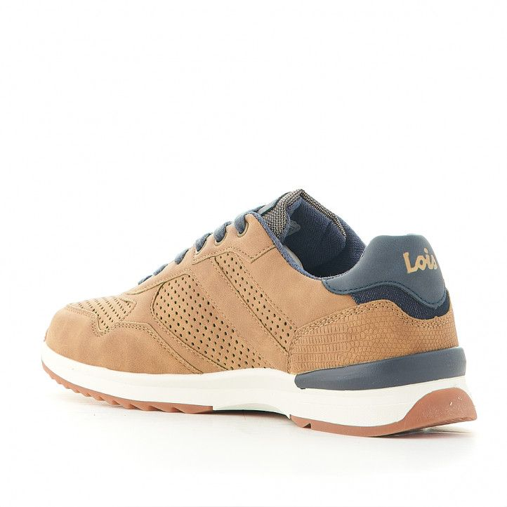 Zapatos sport Lois marrones con cordones azules oscuro - Querol online