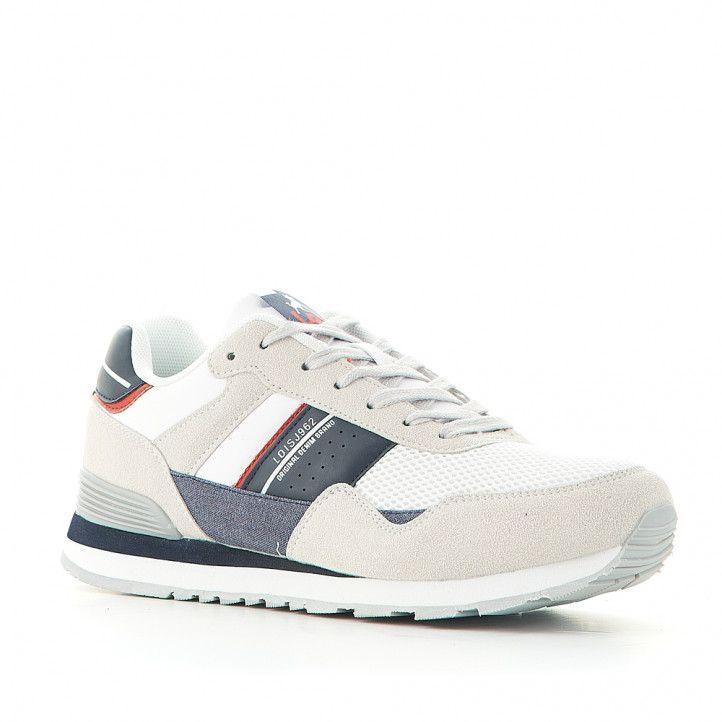 Zapatos sport Lois blancas combinadas con detalles azules - Querol online