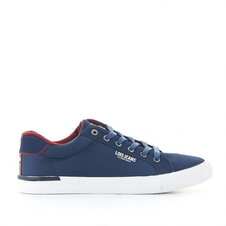 Zapatillas lona Lois azules con interior rojo - Querol online