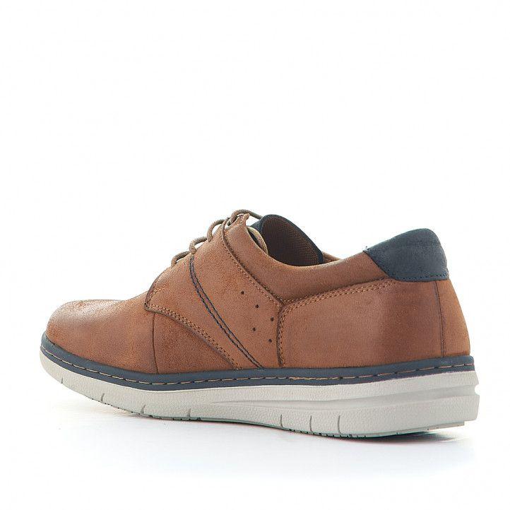Zapatos sport Vicmart marrones con cordones y detalle en contrafuerte azul - Querol online