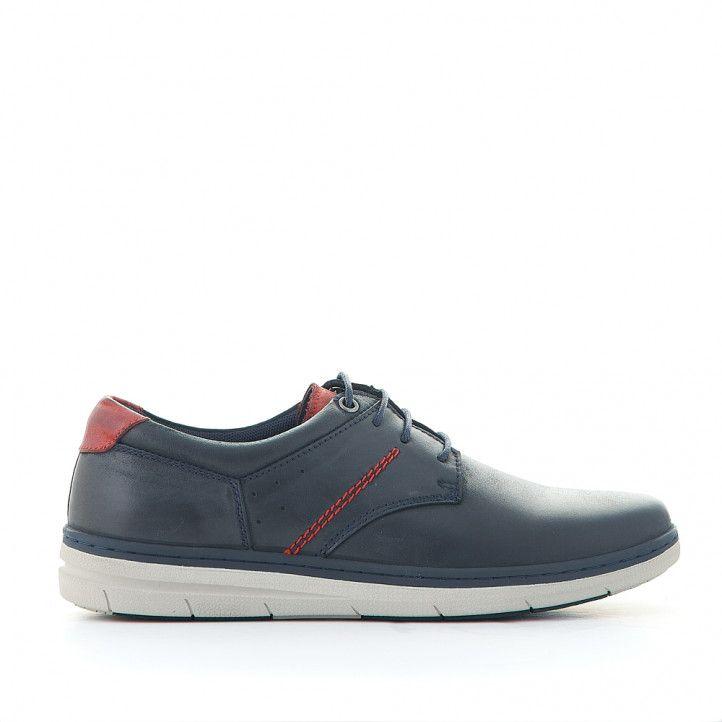 Zapatos sport Vicmart azules con cordones y detalle en contrafuerte rojo - Querol online