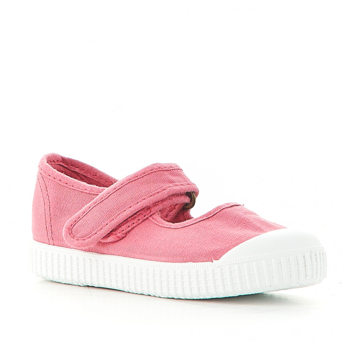 Zapatillas lona Victoria rosas con velcro superior - Querol online