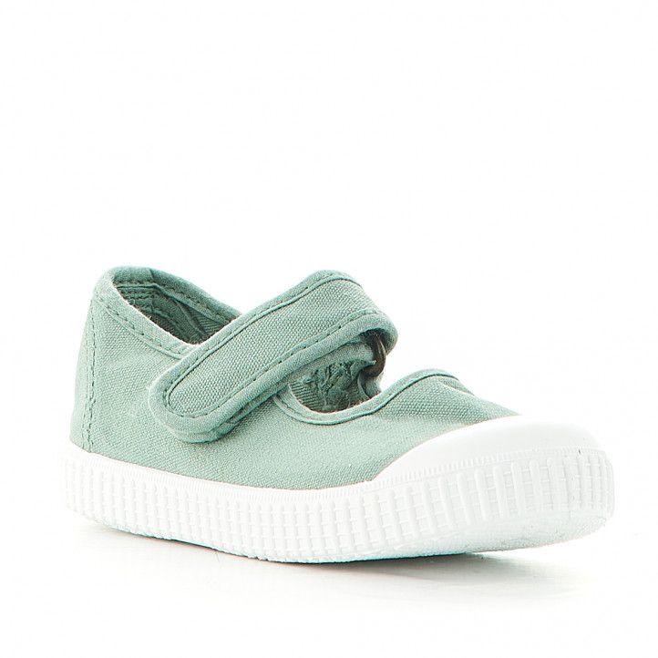 Zapatillas lona Victoria verdes con velcro superior - Querol online