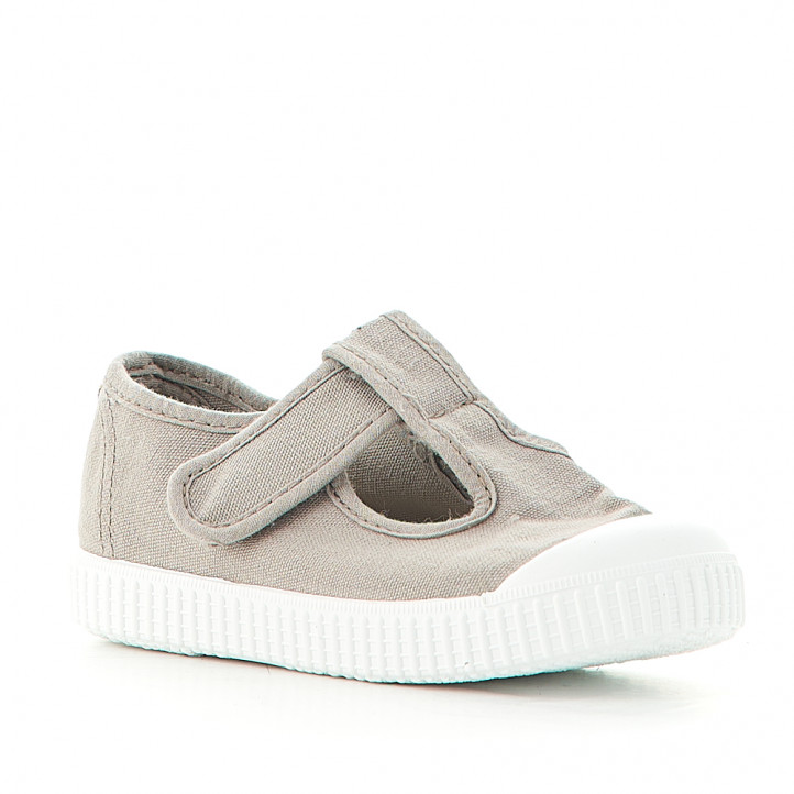 Zapatillas lona Victoria grises con velcro superior - Querol online