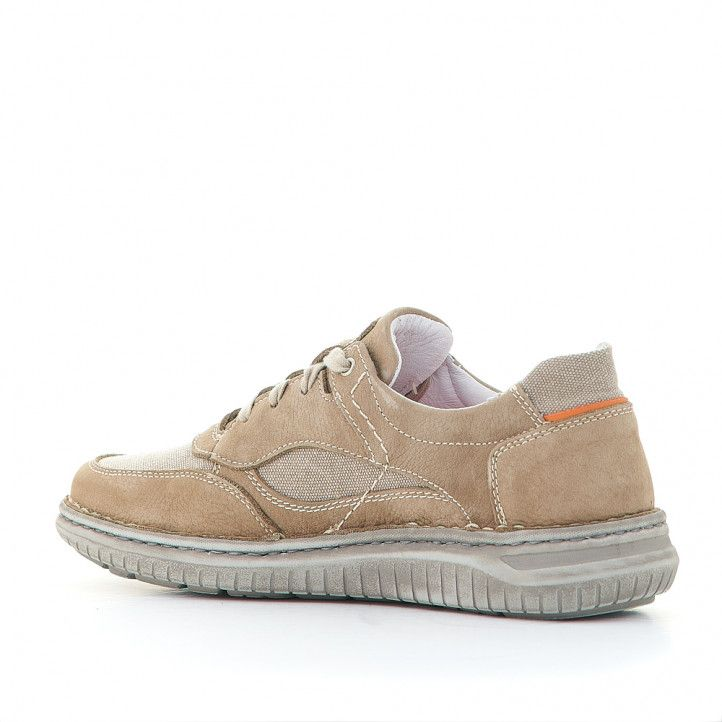 Zapatos sport Zen marrón claro con partes de tela - Querol online