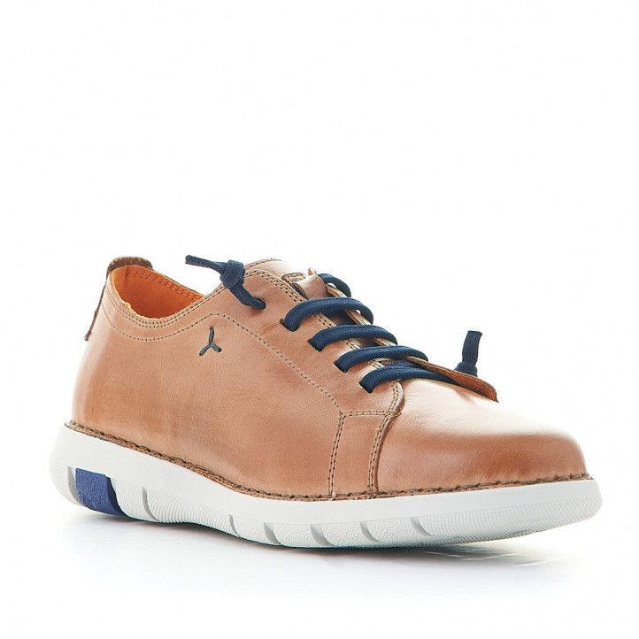 Zapatos sport Zen marrones con cordones elásticos azules - Querol online