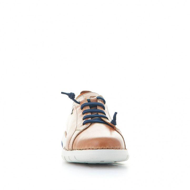 Sabates sport Zen marrons amb cordons elàstics blaus - Querol online
