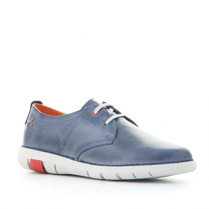 Zapatos sport Zen azules con detalles rojos y suela blanca - Querol online