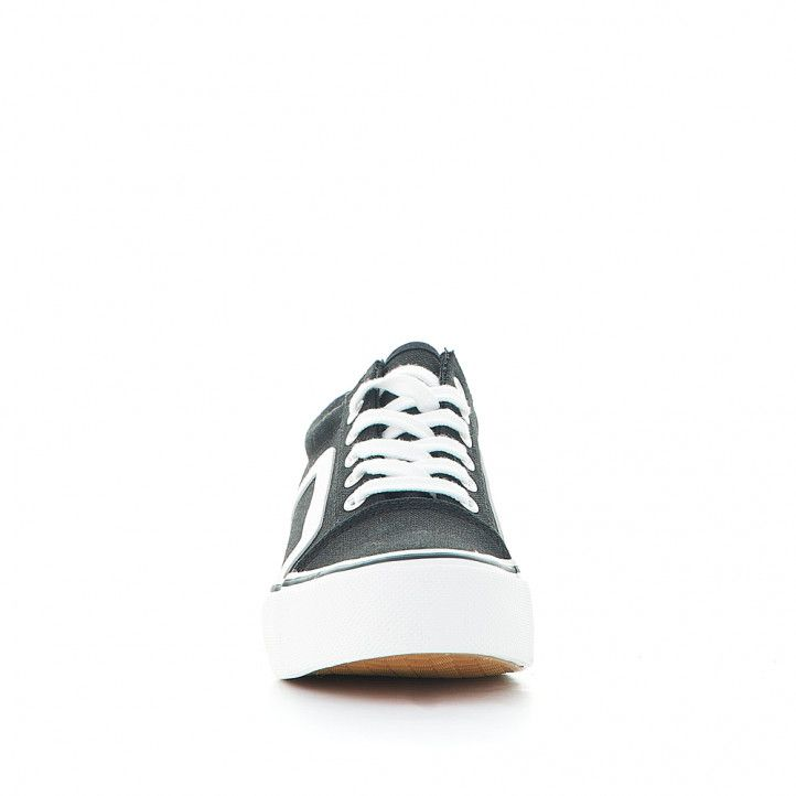 Zapatillas lona Owel negra con línea lateral blanca - Querol online