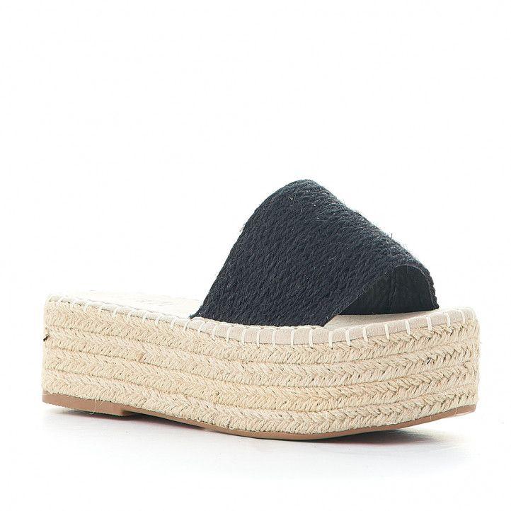 Sandalias plataformas Owel negras de plataforma con cuerda trenzada - Querol online