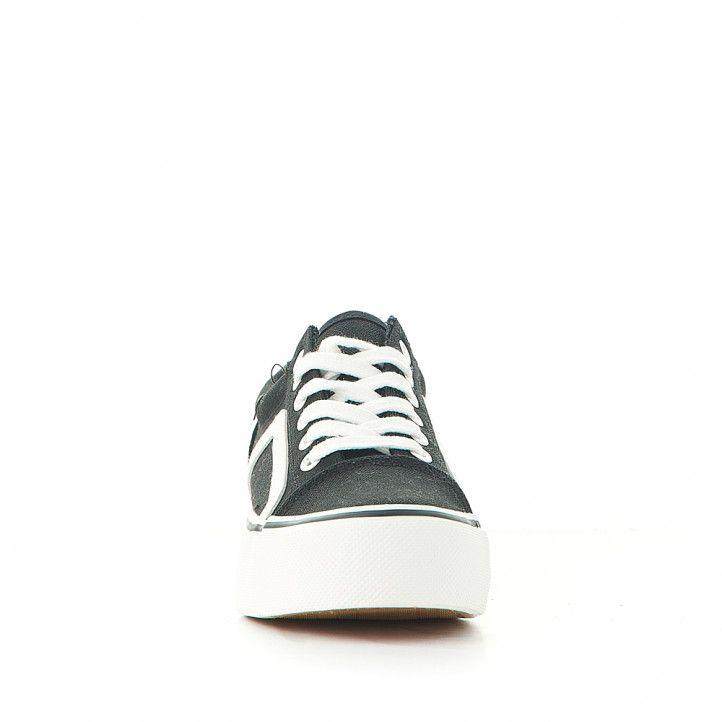 Zapatillas lona Owel kids negra con línea lateral blanca - Querol online