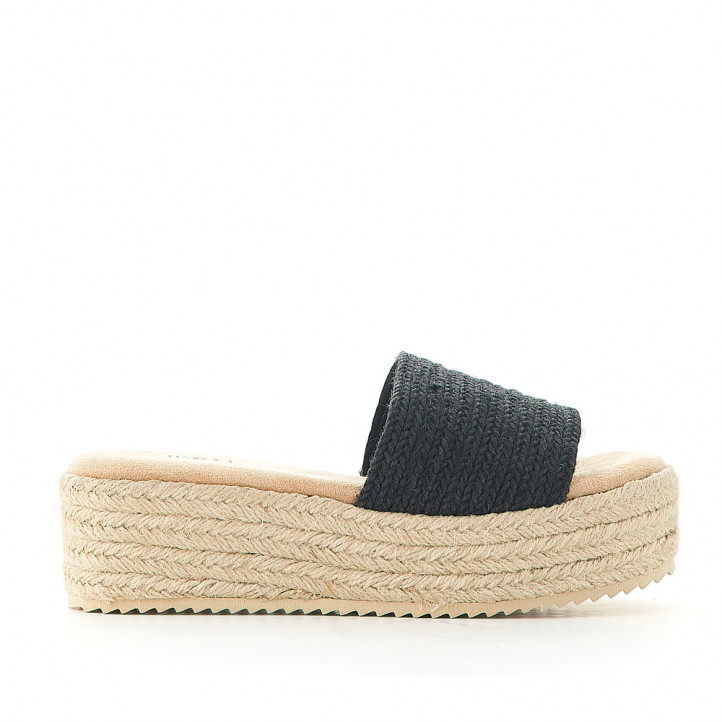 Sandalias plataformas Owel porquerolles de rafia negra y pala grande - Querol online