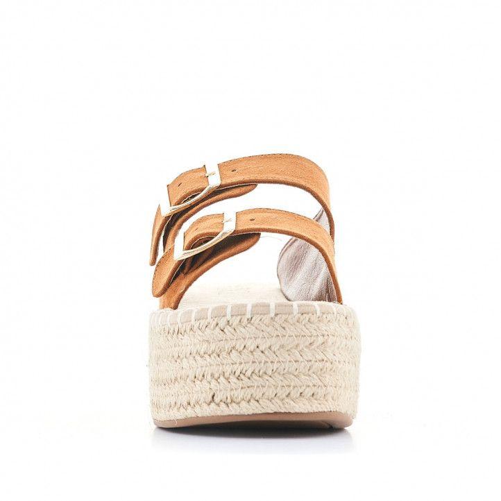 Sandalias plataformas Owel con doble pala y hebilla marrones - Querol online