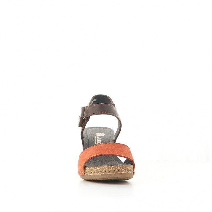 Sandalias tacón Jungla con pala superior naranja - Querol online