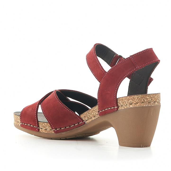 Sandàlies taló Jungla amb diverses tires vermelles - Querol online