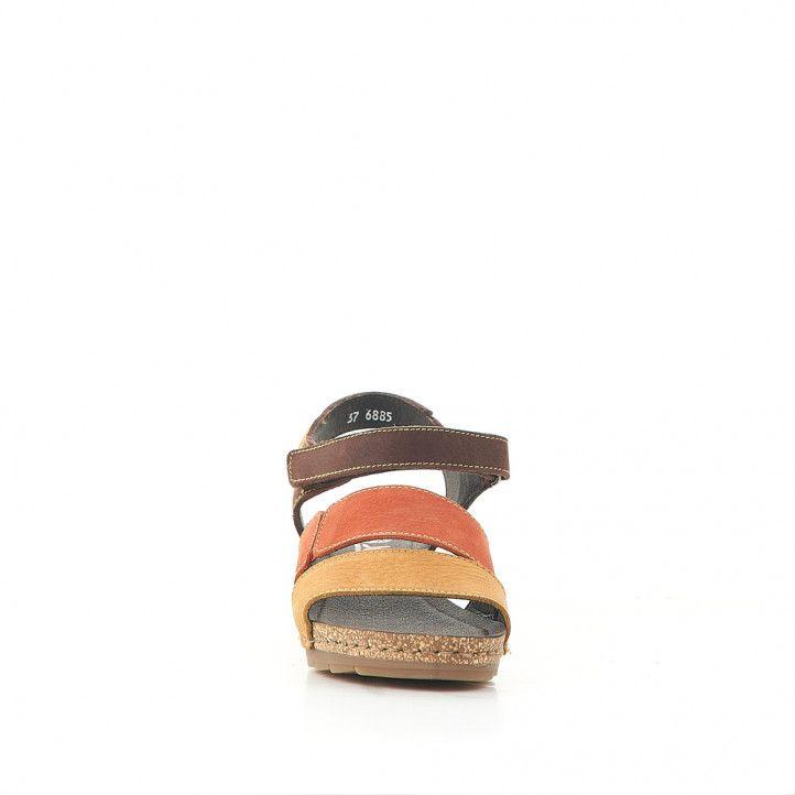 Sandalias cuña Jungla con doble tira de naranja y amarilla - Querol online