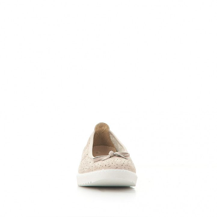 Ballarines Vulladi perforada color crema amb llaç - Querol online
