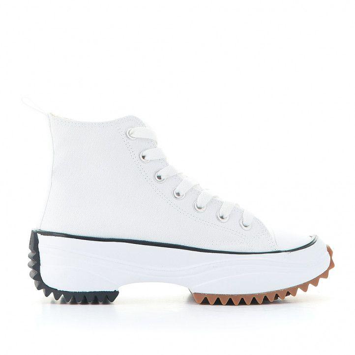 Zapatillas lona JOLLETE con plataforma serrada blanca - Querol online