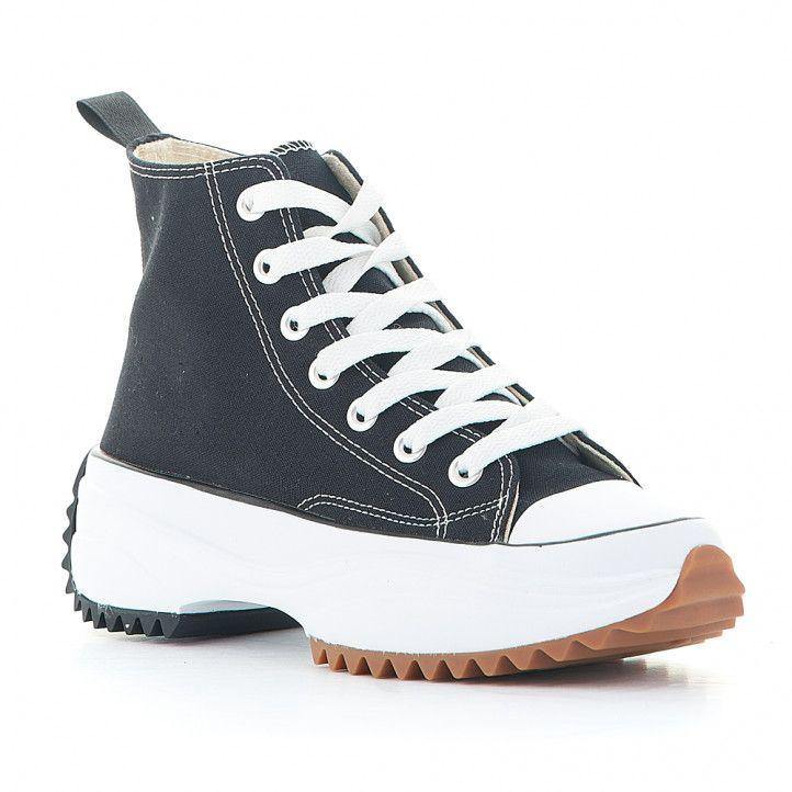 Zapatillas lona JOLLETE con plataforma serrada negra - Querol online