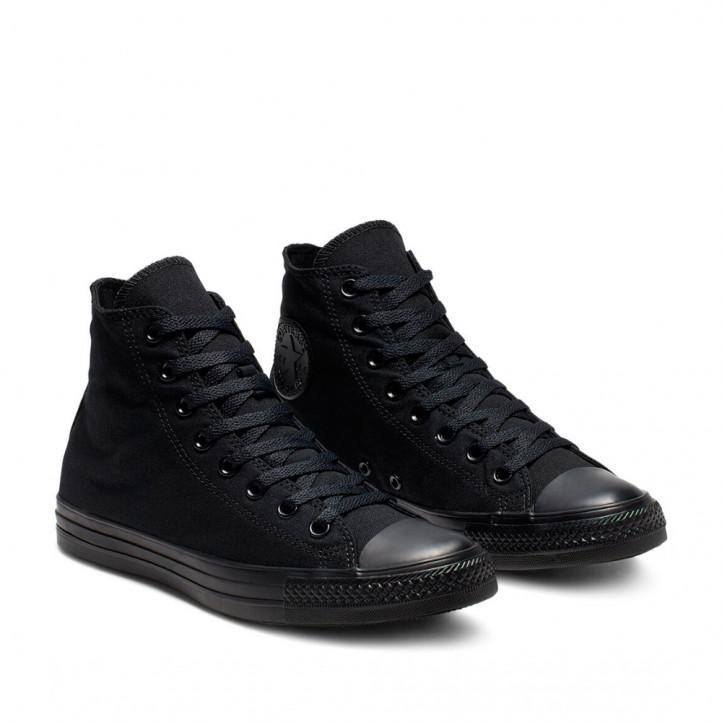 Zapatillas lona Converse negras monochrome chuck taylor allstar bota - Querol online