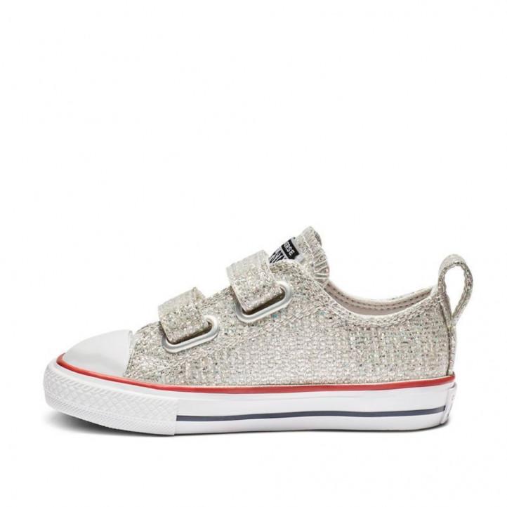 Zapatillas lona Converse all star bajas y grises con purpurina - Querol online