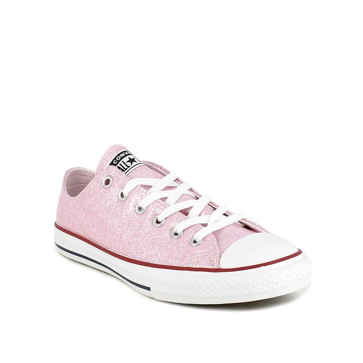 Zapatillas lona Converse all star bajas y rosas con purpurina - Querol online