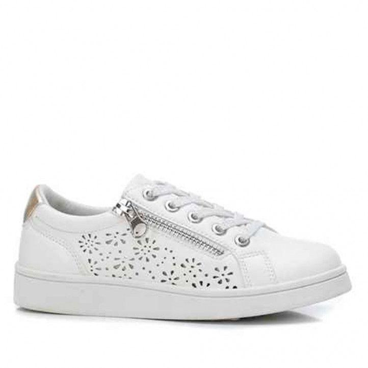 Zapatillas deporte Xti blancas con cremallera y perforada - Querol online